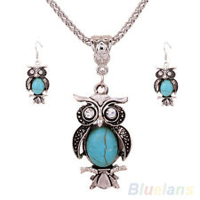 EG_ Trendy Blazing Women Antique Silver Owl Turquoise Earrings Necklace Jewelry