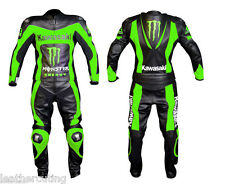 MEN Black GREEN Motorcycle RACING Leather Suit Jacket Leather Pants For Kawasaki