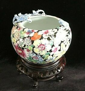 Antique Vintage Chinese Floral Glaze Bowl Auspicious Bat & Dragon CHINA & Stand