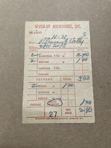 Vintage Seven Up Milwaukee Inc Pleasant Valley Paper Receipt Bottles 1958 A2