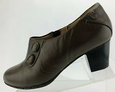 Clarks Unstructured Un.Timeless Shoes Brown Leather Side Zip Casual Womens 10 M