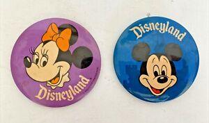 "Vintage Walt Disney DISNEYLAND 3"" Large Round MICKEY &  MINNIE MOUSE Pins Badges"