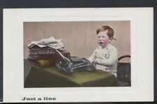 Children Postcard - Just a Line - Young Boy Using a Typewriter  RS8488