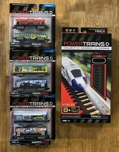 Power Trains Series 2 Freight Cars 3 pack Set of 6 Freight Cars Plus Track- NEW
