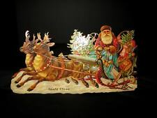 SPECTACULAR 1985 Embossed Die Cut Santa Claus & Sleigh Decoration – Merrimack Co
