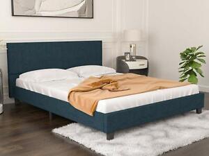 Queen Size Linen Platform Bed Frame, Fabric Headboard, Wood Slats Support, Blue