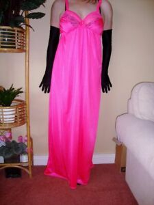 Fluorescent Pink Silky Lacy Long Formal Length Bra Slip or Nightgown L-XXL BNWT