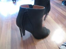 Coach Peep-toe Stilleto Ankle Booties with Fringe, Black, Size 8