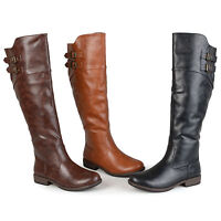 Journee Collection Womens Wide And Extra Wide Calf Buckle Detail Riding Boots