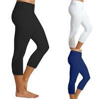 Women's Yoga Workout Gym Cropped Pants Legging Fitness 3/4 Capri Stretch Trouser