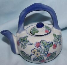 teapot china little strawberries design blue handle and spout 5x5 porcelain