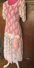 VTG 80s Spring Lace Drop Waist w Bow 20s Flapper Art Deco Party Dress M