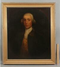 Lrg Antique 18thC Portrait Oil Painting of Gentleman, Powdered Wig Family Crest