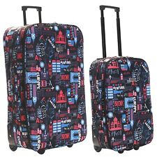Cabin Hand Luggage Super Lightweight 2.3 Kg Printed Suitcase Bag Travel Wheeled