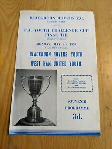 1958/59 FA YOUTH FINAL BLACKBURN ROVERS v WHU WEST HAM UNITED BOBBY MOORE HURST