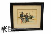 Alba Zaiser Watercolor Signed Painting Impressionist Portrait Fishermen Boats