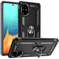 For Samsung Galaxy A51 5G Case Hybrid Ring Kickstand w/Tempered Glass Protector