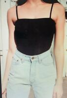 "Brandy Melville ""Anne"" Black Ribbed Square Neck Cami Bodysuit XS/S"