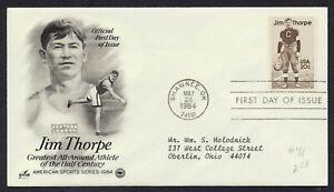 #2089 20c Jim Thorpe, Art Craft-PCS FDC **ANY 4=FREE SHIPPING**