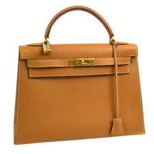 Authentic HERMES KELLY 32 2way Hand Bag Beige Couchevel Vintage GHW JT06353