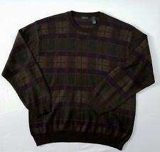 CELLINNI Wool Blend Crewneck Men's Sweater Burgundy Knit Plaid Size XL!!
