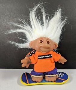 Vintage Snowboarding Troll Doll with White Hair & Orange Surf Clothing 2001 Rare