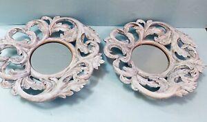 "Itarts 2 custom whitewash finish11"" x 11"" framed ornate leaf motif resin mirrors"