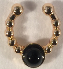 (Gold -Black Stone) Faux Septum Ring