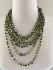 Silpada 8 strand- Green Pyrite&Mother Of Pearl Necklace-Retired N1814