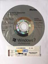 Windows 7 professional coa + full oem disque d'installation 64-bit SP1 + matériel