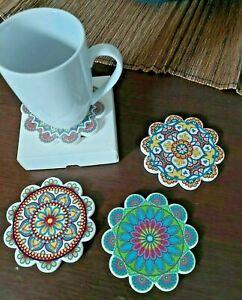 MANDALA SET of 4 Ceramic DRINK Cup COASTERS Hippie Cork Back  Free Shipping
