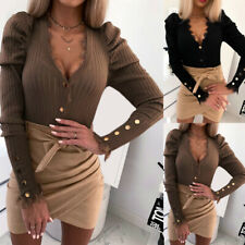 Women Sexy Slim Fit Tops Lace Splice Button Long Sleeve Shirts Blouse Clothes