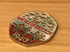 Coloured 2015 50p pence BATTLE OF BRITAIN denomination coin Red Poppies Airplane
