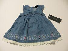 Tommy Hilfiger Girls Dress Size 3-6M Blue Decorative Embroidery Lace Hem Nwt