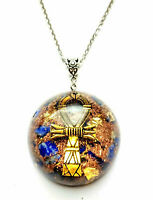 Necklet Orgone Orgonite Egyptian pendant Ankh cross, Lapis lazuli, Quartz, 24K