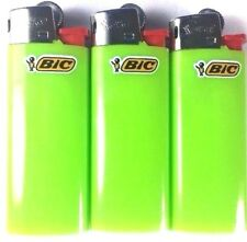 3 Lime Green Mini Bic Lighters - Small Size Solid Color Made in France