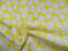 Bullet Printed Liverpool Textured Fabric Stretch Yellow Big White Polka Dot N50
