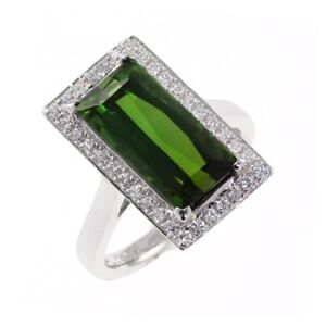 18k White Gold Finish Sterling Silver Large Green Tourmaline Diamond Party Ring