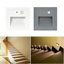 3W 230V LED Wandeinbauleuchte Treppe Stufenlicht Lampe Licht Bewegungsmelder Alu