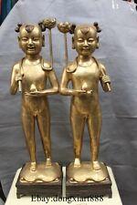 "35"" China Bronze Stand Tong Zi Boy Girl Lotus Flower candelabrum Statue Pair"