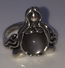 GODDESS ABUNDANCE RING .925 Sterling Silver Gray Moonstone Sz 10 MOTHER Midwife
