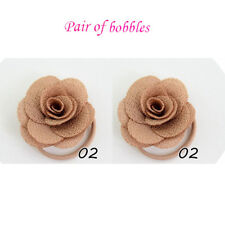 Girls Rose Flower cute elastic bobbles Bow School Baby lot Hair kids Pair
