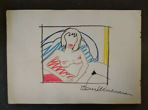 TOM WESSELMANN      DRAWING SIGNED CHARCOAL ON OLD PAPER OF THE 60s