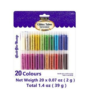 20 x DIY Multi Assorted Colours Glitter Tubes Art Craft Glitters Home Craft Fun