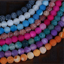 """Natural Stone Round Fire Dragon Veins Agate Loose Beads For Jewelry Making 15"""""""