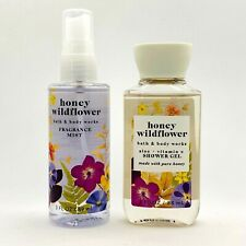 Bath & Body Works HONEY WILDFLOWER Fragrance Mist Spray & Shower Gel Travel Set
