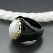 Achat-Ring negro blanco oval Mabeperle oro amarillo 585 (38392) Neu