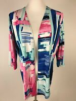 CHICO'S Easywear 3/4sl Travel Knit Open Front Cardigan/Jacket - 1 (8) Pink Blue