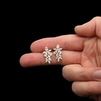 5.00Ct Marquise Pear Created Diamond Cluster Stud Earrings 14K Yellow Gold Large