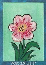 Original ACEO - Tulip in Full Brilliance - miniature acrylic painting